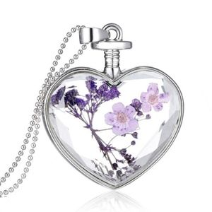 Jewelry - PREVIEW Glass Heart Dried Purple Flower Necklace